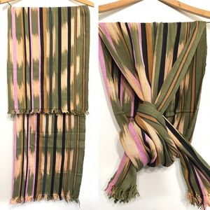 Boho Knit Striped Ikat Scarf Shawl